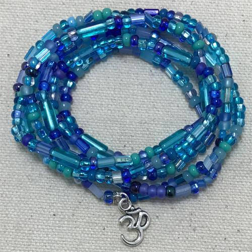 "Ocean Blue - ""Boho Om"" - Stretch Beaded Bracelet - Ferris Arts"