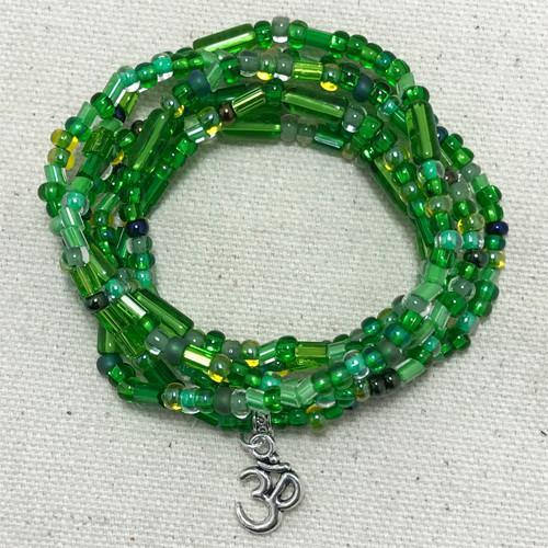 "Emerald Green - ""Boho Om"" - Stretch Beaded Bracelet - Ferris Arts"