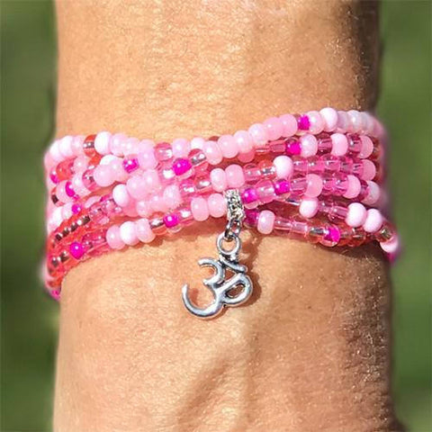 "Pink Passion - ""Boho Om"" - Stretch Beaded Bracelet - Ferris Arts"