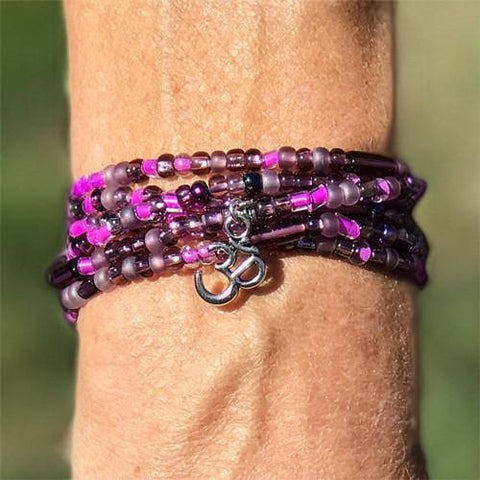 "Plum - ""Boho Om"" - Stretch Beaded Bracelet - Ferris Arts"