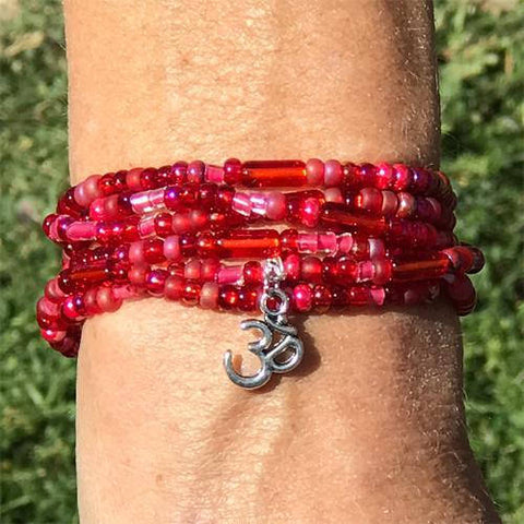 "Ruby Red - ""Boho Om"" - Stretch Beaded Bracelet - Ferris Arts"