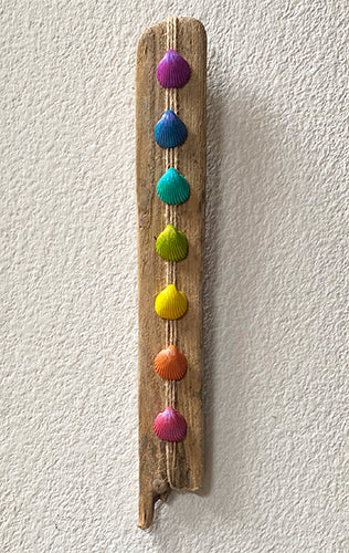 Driftwood and Shell Chakra Wall Hanging - Piece Two
