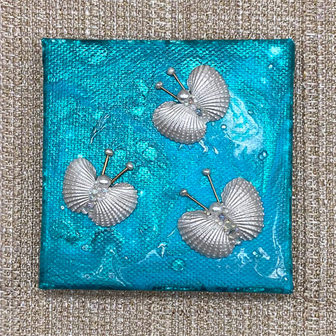 Canvas Shell Butterfly Magnet - Teal