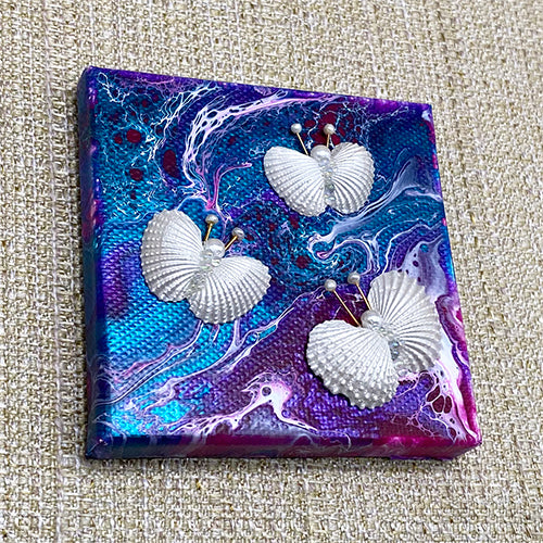 Canvas Shell Butterfly Magnet - Purple