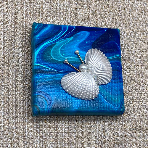 Canvas Shell Butterfly Magnet - Blue