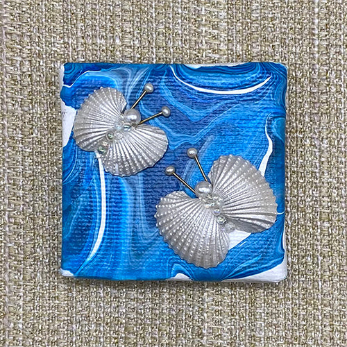 Canvas Shell Butterfly Magnet - Blue & White