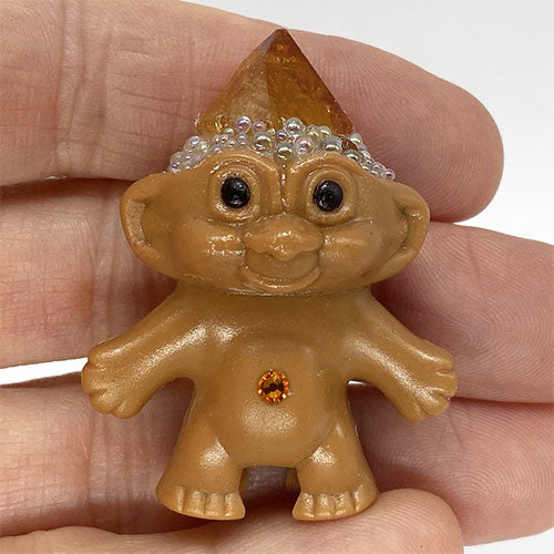 Citrine Quartz Crystal Troll Doll - Ferris Arts