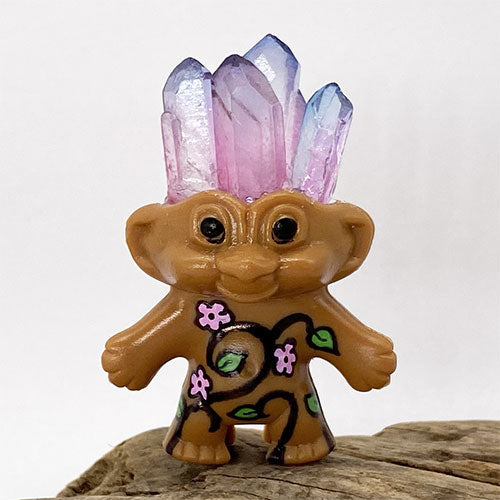Pink & Blue Crystal Flower Troll Doll - Ferris Arts