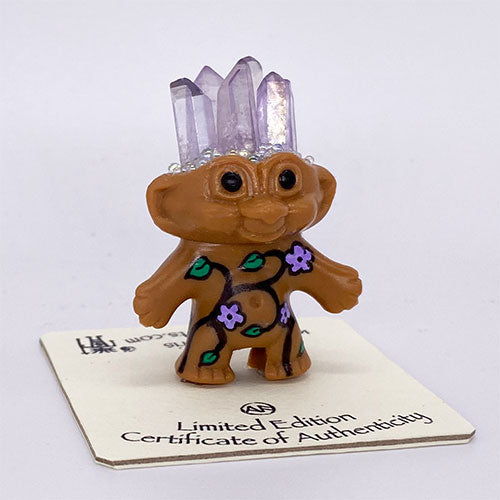 Purple Aura Crystal Flower Troll Doll - Ferris Arts