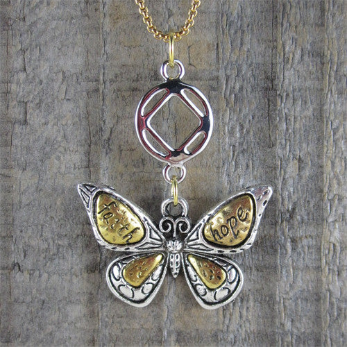 "Two Toned Butterfly NA Pendant - ""Faith and Hope"" - Ferris Arts"