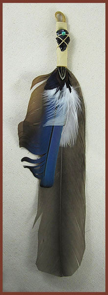 Brown Heron Smudge Feather with blue and white accents - Ferris Arts