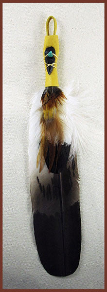 Semi Mature Eagle Smudge Feather with golden accents - Ferris Arts