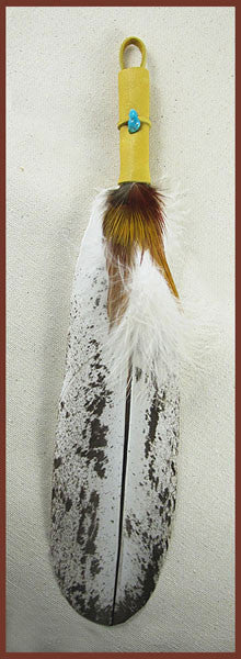 Immature Eagle Smudge Feather with gold accents - Ferris Arts
