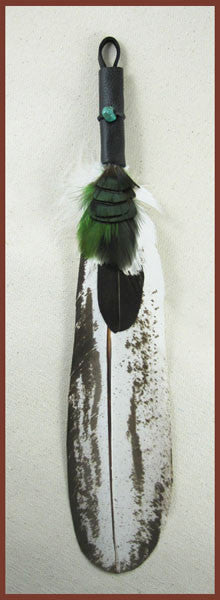 Immature Eagle Smudge Feather with emerald accents - Ferris Arts