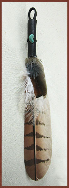 Red Tail Hawk Smudge Feather with Pheasant - Ferris Arts