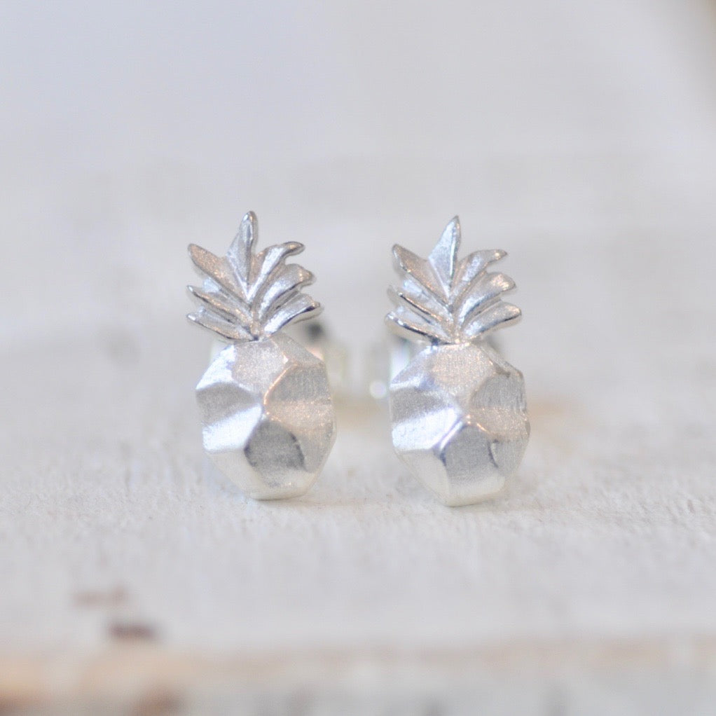 stud pineapple sterling diamante earrings silver