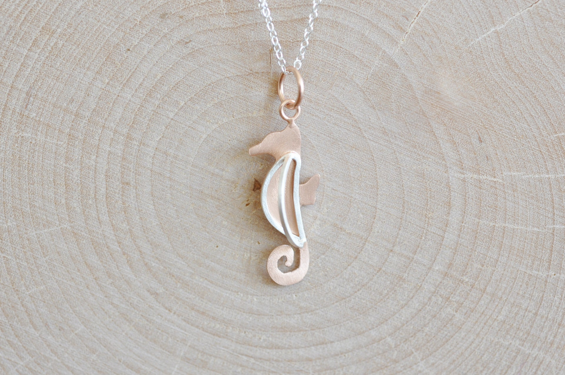 3d seahorse necklace in rose gold and sterling silver jamber jewels 3d seahorse necklace in rose gold and sterling silver mozeypictures Choice Image