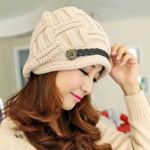 Chic Women's Button Braid Decorated Knitting Hat