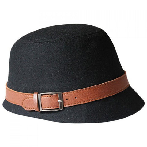 Chic Brown Belt Decorated Solid Color Hat For Women