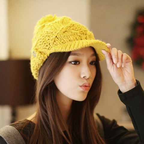 Chic Button Decorated Solid Color Knitted Visor For Women