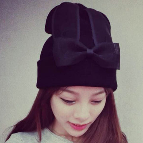 Cute Rabbit Ear Shape and Bowknot Decorated Hat For Women