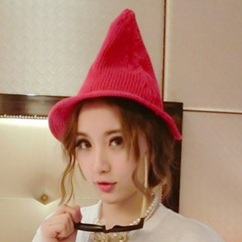 Chic Cone Design Solid Color Knitted Hat For Women