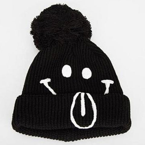 Chic Smiling Face Pattern Hemming Design Hat For Women