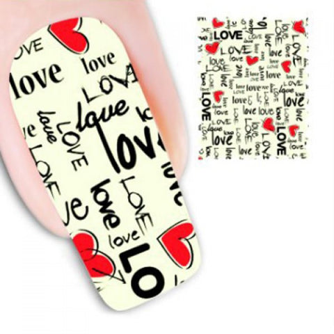 One Sheet Attractive Full Colorful Letter Pattern Water Transfer Printing Nail Sticker
