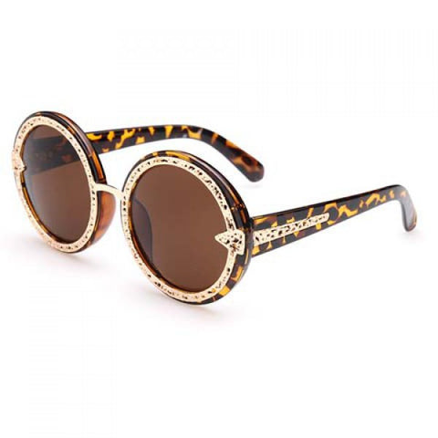 Chic Hollow Out Alloy Leopard Pattern Frame Sunglasses For Women