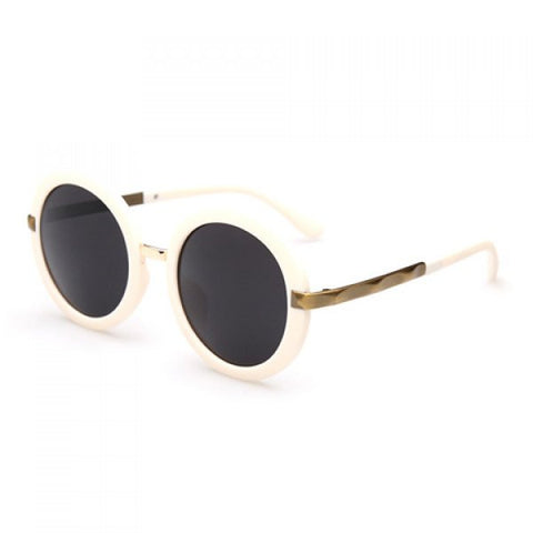 Chic Retro Solid Color Rounded Frame Sunglasses For Women