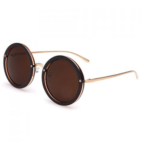 Chic Screw Inlay Embellished Rounded Frame Sunglasses For Women