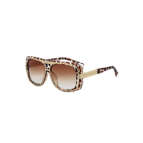 Chic Metal Inlay Leopard Frame Sunglasses For Women