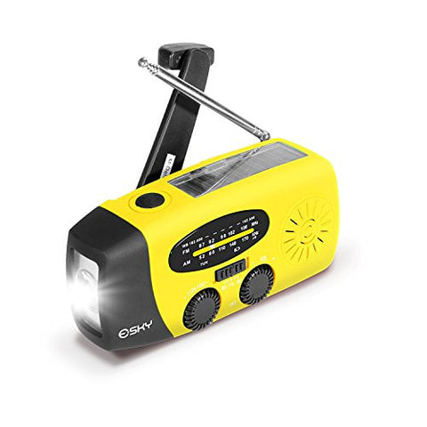 Esky Solar Hand Crank Self Powered Emergency Radio with LED Flashlight and