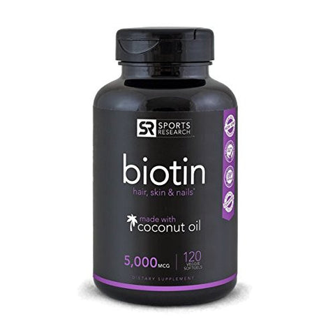 Biotin (High Potency) 5000mcg Per Veggie Softgel; Enhanced with Coconut Oil for better absorption; Supports Hair Growth, Glowing Skin and Strong Nails; 120...