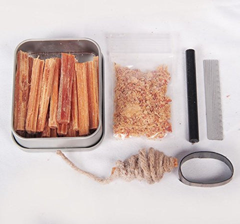 Fatwood 100% Natural Firestarter Sticks Hand Cut In The USA Ferro Rod Ferrocerium Flint Jute Fatwood Chips Striker Tin Container Survival Emergencies Camping Steve Kaeser since 1989
