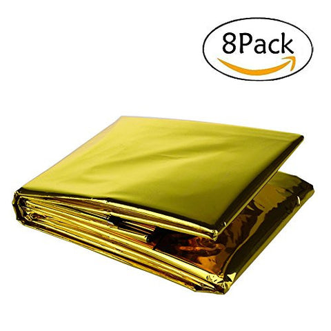 "Somine Emergency Blanket (8-Pack)Size 83""X63"" Designed with up to 90% Heat Retention Waterproof Thermal Blankets for Backpacking, First Aid Kit, Outdoor Exercise(Golden&Sliver)"