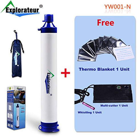 Explorateur Personal Water Filter for Camping, Hiking, Backpacking, Prepping And Emergencies with thermo blanket and multicutter for free