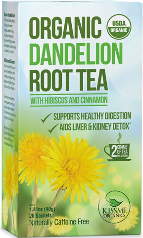 Dandelion Root Tea - Raw Organic Vitamin Rich Digestive - 1 Pack (20 Bags 2 Grams Each)