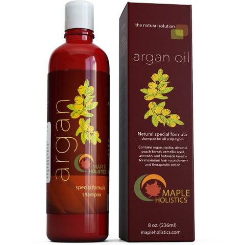 Argan Oil Shampoo, Sulfate Free, 8 oz. - With Argan, Jojoba, Avocado, Almond, Peach Kernel, Camellia Seed, and Keratin - 100% Safe for Color Treated Hair -...