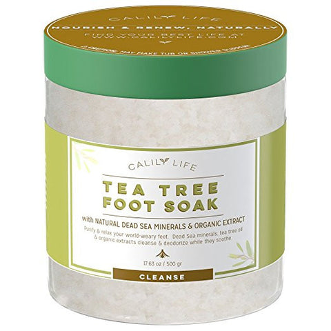 Calily Life Organic Tea Tree Oil Foot Soak with Natural Dead Sea Minerals , 17.5 Oz. - Foot Bath Eliminates Odors, Fights Fungus, Softens and Refreshes Feet -...