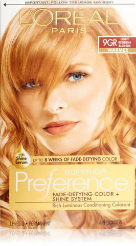 L'Oreal Paris Superior Preference Fade-Defying Color + Shine System, 9GR Light Golden Reddish Blonde (Packaging May Vary)