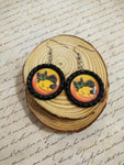 Cat And Pumpkin Bottle Cap Earrings