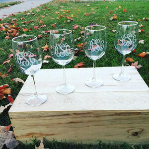 Monogram Stemmed Wine Glass
