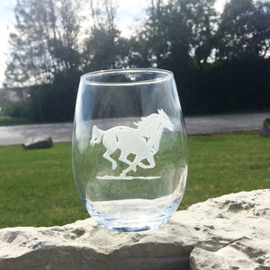 Stemless Wine Glass - Running Horse