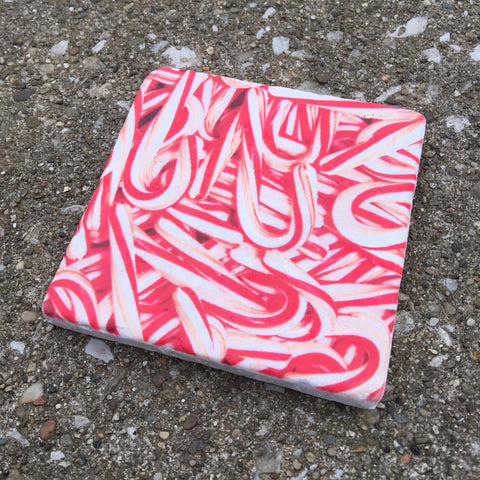 Candy Cane Sandstone Coaster