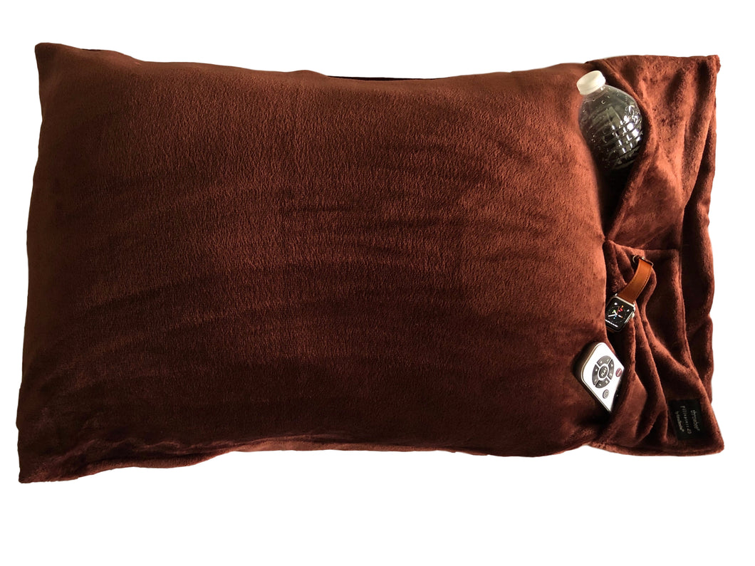 NEW throwbee PILLOWCASE 2.0 WITH SIDE POCKETS, yes SIDE POCKETS! - CHOCOLATE BROWN