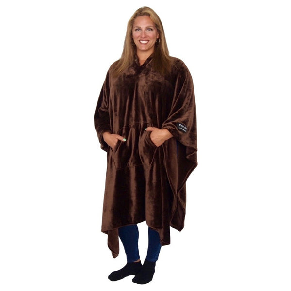 THROWBEE Blanket-Poncho - CHOCOLATE