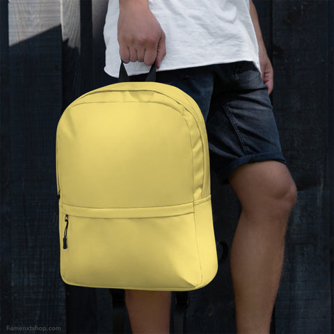 Soft Yellow Backpack from Solid Color Series [famenxtshop.com]