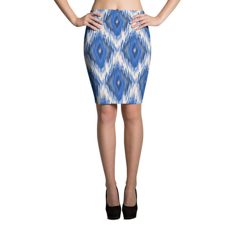 ikat blue pencil skirt