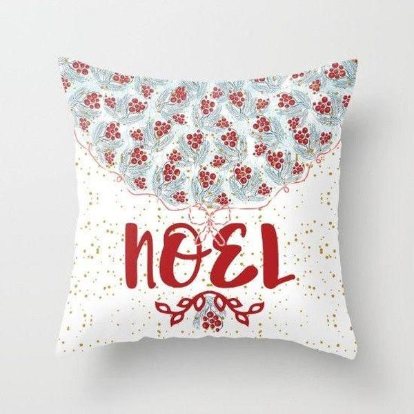 Christmas Noel in white throw pillow case-Pillows-famenxt